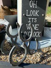 Horse Shoe Wine Rack Bottle Holder Handmade in silver/grey BESPOKE