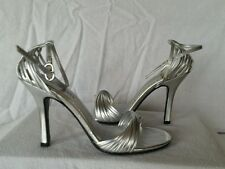 """Chinese Laundry  New """"Willy"""" 7 M Shimmer Silver Mary Jane Sandals Shoes Heels"""
