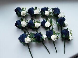 12  navy blue  rose wedding buttonhole/rustic /ivory rose/ivy/gypsophilia