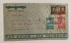 1931 Condor Zeppelin Multifranked Brazil to Curityba