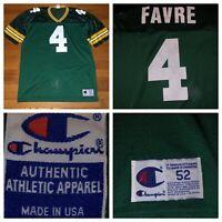 Vtg Champion Green Bay Packers Brett Favre #4 Green Men's Jersey Size 52 USA