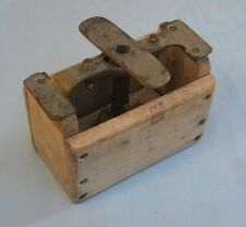 Vintage BUTTER MOLD PRESS - Primitive Wood Box with Brass Fittings