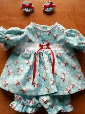 "New Listing16"" Cabbage Patch Outfit - Snowmen on Aqua Blue and White Print Dress"
