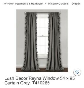 Lush Decor Reyna Window 54 x 95 Curtain Panels Beautiful Gray  T410265 New