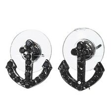 "1/2"" Gray Rhinestone Hematite Boat Anchor Nautical Beach Jewelry Stud Earrings"