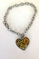 Women's Shinny Stainless Steel  Hanging Leopard Heart Charm Bracelet 7.5 Inches