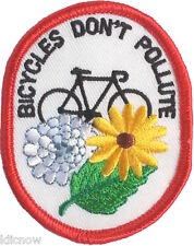 BICYCLES DON'T POLLUTE EMBROIDERED PATCH 7 X 5.5CM (BICYCLE)