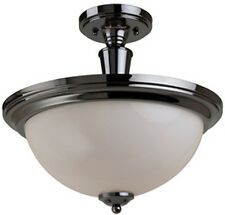 "New 14"" Semi Flush mount White Glass Ceiling Light Lighting Fixture Black Chrome"