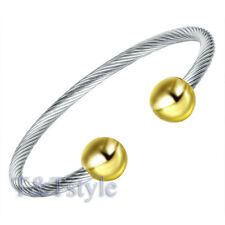 Trendy T&t 316l Stainless Steel Magnet Cuff Silver/gold Bs20