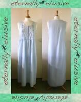 Vintage 00s M&S Floral Embroidery Summer Nightie Nightdress Size 12 14 Long Tall