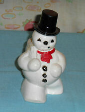 vintage Christmas plastic SNOWMAN WITH SACK candy holder container