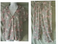 "Charter Club Gray Pink Pajama Set Short Sleeve Capri Pants  Large 50"" BUST"