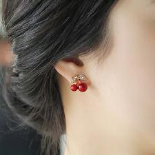 1 Pair Women Girl New Fashion Cute Rhinestone Red Cherry Ear Stud Earrings Gift