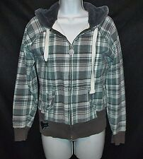 FOX GiRLS Moto Racing green grunge plaid furry lined hoodie sweatshirt women M 7