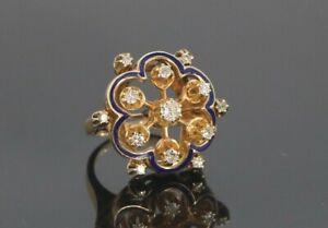 Vintage 14K Yellow Gold Single Cut Diamond Blue Enamel Cocktail Ring Size 7.5