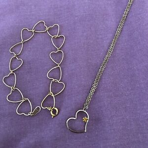 Gold Tone Heart Pendant Amber and Heart Link Bracelet Fashion Costume Jewelry