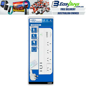 Crest Premium Power Board 4 Socket Surge Protection & 4 USB Fast Charger Port