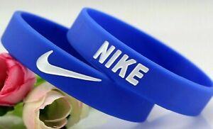Nike Baller Band Silicone Rubber Bracelet Blue White Elite AF1 BEST RATED USA