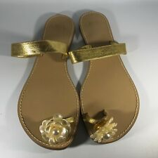 Juicy Couture Smells Like Couture Gold Sandal w/Flower Toe  Size 9 M EUC