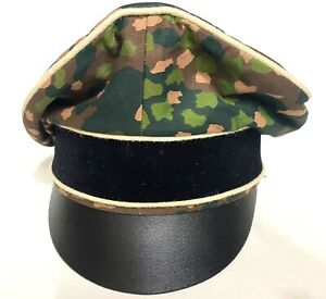 "WW2 GERMAN ""ELITE""INFANTRY DOT 44 CAMO ""CRUSHER"" CAP"