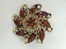 New Bohemian Resin Brown Rhinestone vintage Brown flower Bronze leaves brooch