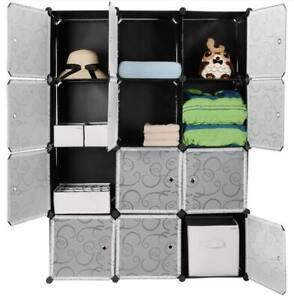 Storage Organizer Portable Shelving12 Cubes Wardrobe Closet Cabinet Interlocking