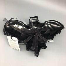 x4 Akcam Black Bats Glass Plate Set Appetizer Dessert Candle Holder Halloween