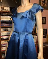 Vintage 1950s PEGGY HUNT ICE BLUE SILK SATIN Fit & Flare BELTED EVENING DRESS 4
