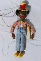Vintage Handmade Marionette String Puppet Black Americana Folk Art