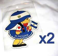 2pack EL Salvador Flag Girl Magnets Fridge/Car/Locker UV protected Imán Bandera
