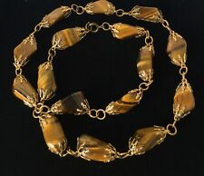 Vintage 1950s Tigers Eye Bead Necklace