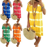 ❤️ Plus Size Womens Boho Tie Dye Summer Dress Ladies Beach Casual Loose Sundress