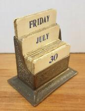 "New listing Antique Edwardian Etched Brass Three Tier Desktop ""KINCO"" Perpetual Calendar"