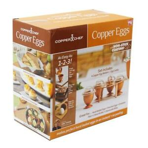Copper Egg Chef  With Non Stick Coating 4 Copper Egg Makers Egg Caddy as on TV