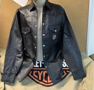 Harley-Davidson Men's Medium Black Leather Shirt Jacket snap close New w/o tags
