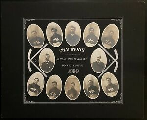 1909 Berlin Ontario Champion Hockey Team Cabinet Master Studio Photo Vintage Old