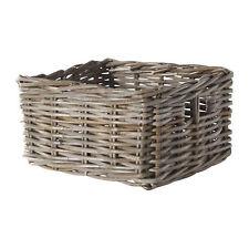 IKEA BYHOLMA Hand-Woven Rattan Storage Basket (Grey - 25x29x15cm Approx.)