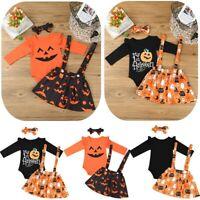 Newborn Baby Girls Romper Outfit Bodysuit + Skirt Cartoon Pumpkin Halloween 3PCS