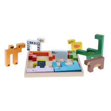 Kids Animal Block Puzzle Board Game - Wooden Childrens Jigsaw Tangram Toy