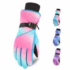 Waterproof Snow Gloves For Women Snowboard Hand Mittens Geometric Design Warmers