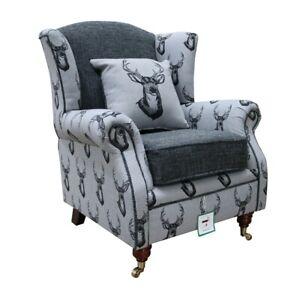 Fireside High Back Armchair Deer Print Grey Fabric Wing Chair