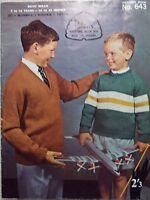Vintage  Patons BOYS Knitting Pattern book NO.643 KNITWEAR 7-16 YEARS