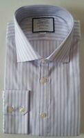 Charles Tyrwhitt Lilac & White Dress Shirt Cutaway Collar Slim Fit Size 14.5 33