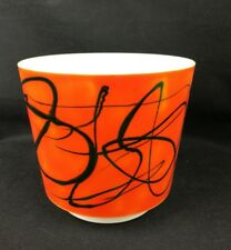 ancien cache pot vintage 70's plastique orange graphique West Germany H17/D19cm
