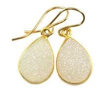 White Druzy Earrings Bezel Set 14k Gold Filled Teardrop Drops Drusy Druse Med