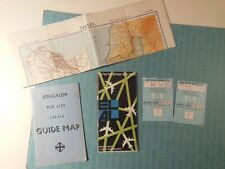 El Al Airlines, c1964 boarding passes, route map, maps of Jerusalem & Israel