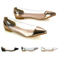 Womens Low Heel Perspex Pumps Ladies Pointed Toe Slip On Dolly Shoes Size 3-8