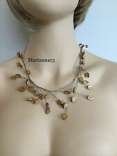 Women's Necklace-Gold Mother of Pearl Necklace-Dyna Mites Opaque Glass Beads