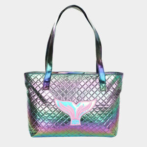 NEW Mermaid Tail Iridescent Rainbow Quilted Diamond Purse Tote Shoulder Bag