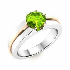 CERTIFIED 1.04 Ct Real Round Peridot Solitaire Men's Ring in 14k White Gold